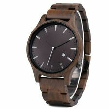Wood Watch Men Fashion Timepieces Chronograph Military Wooden Quartz Watch & Box