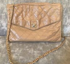 100% Authentic Chanel Beige Vintage Soft Slouch Leather Flap Bag Crossbody