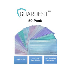 MADE IN USA Guardest 50 Pack 3-Ply Disposable Protective Wear Lavender/Pink/Blue