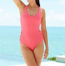 Becca Swim One Piece Sz M Coral Pink Swimsuit Crossback Cut-Out Maillot 791057