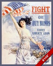 US FIGHT OR BUY WAR BONDS WWII PROPAGANDA POSTER PAINTING REAL CANVAS ART PRINT