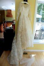 Vintage Wedding Dress G. Fox veil satin lace prop costume sleeve sweetheart sz 8