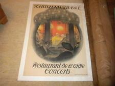 "Vintage Adv Poster Schutzenhaus Bale Restaurant Burkhard Mangold 39""x26 1917 VG"