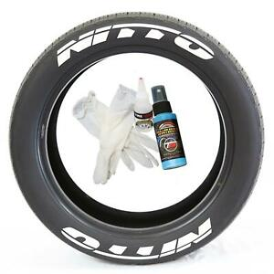 """Tire Lettering Pre-Curved Permanent Raised Letters Nitto Logo White Rubber 1.50"""""""