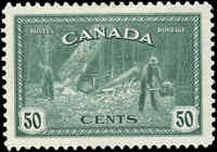 Canada Mint H VF Scott #272 1946 50c Logging, B.C. Peace Issue Stamp
