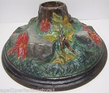 Antique Cast Iron Christmas Tree Stand poinsettia rocks roots Exquisite *Rare