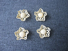 Vintage filigree creamy celluloid flowers cabs appliques jewelry making