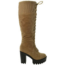 Knee High Boots Platform Chunky Heel Women's Lace Up Combat Military Styles
