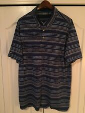Ashworth Mens XL Polyester Golf Polo Shirt -Royal Blue/White Stripe
