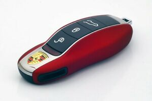 For Porsche Key Cover Case Skin Shell Cap Fob Protection Bag Hull Metallic Red