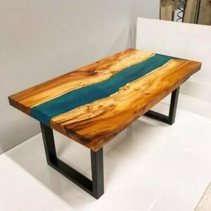 """60"""" x 30"""" Epoxy Resin Wooden Table Top Handmade With Metal Iron Legs"""