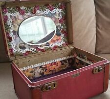 Vintage 1950's Towncraft Train Case Upcycled Using Original Victorian Items NICE