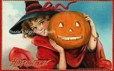 Fabric Block Vintage Halloween Greetings Witch JOL 100% Cotton