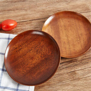 2pcs Wood Plate Serving Food Fruit Snack Tray Dish Salad Bowl Wooden Plate