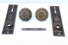 Pair of Arabic Mallory Wheeler Co Cast Bronze Door Knobs + Rosettes + Spindle