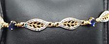 Sterling Silver 925 Two Tone Blue Tanzanite Marquise Swirl Leaf Tennis Bracelet