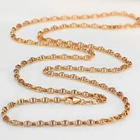 Fine Pure AU750 18K Rose Gold Men's Stud Chain Necklace 17.7inch Xlee