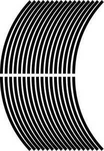 5mm wheel rim tape striping stripes stickers BLACK..(38 pieces/9 per wheel)
