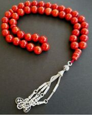 Prayer Beads Rosary Tesbih Masbaha Red Coral Exceptional Size & Quality 89g