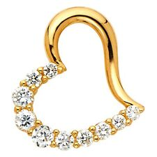 Charm Open Curve Style 17 x 15 mm Cz Heart Pendant Solid 14k Yellow Gold Love