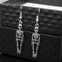 Women Skeleton Pattern Earrings Halloween Dangle Drop Sliver Ear Jewelry Fashion