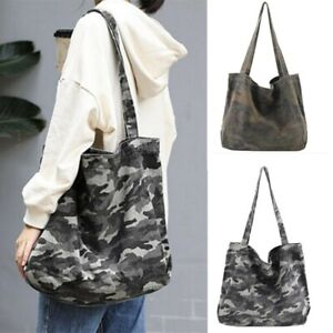 Women Vintage Canvas Camouflage Large Tote Shoulder Bag Shopping Handbag