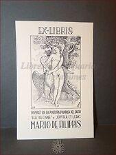 EROTICA - Ex-Libris Originale ANDREA DEL SARTO Leda e il Cigno Mario De Filippis