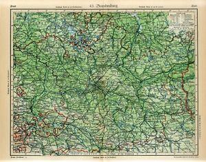 1920s GERMANY BRANDENBURG STATE BERLIN Antique Map