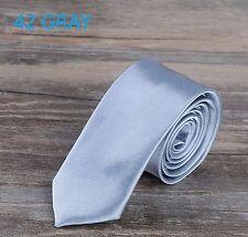 "Slim Skinny Neck Tie Suit 2"" Mens Wedding Necktie Solid Plain 50 Colors"