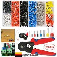 1200 teilig Set Crimpzange Aderendhülsen Kabelschuhe Zange Presszange 0,25-10mm²