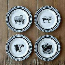 "Farm Animal Plate Set 4 Ceramic 8"" Black White Gingham"