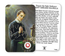 ST GERARD LAMINATED PRAYER CARD + RELIC - FOR A SAFE DELIVERY EXPECTANT MOTHER