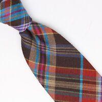 Gladson Mens Slub Silk Necktie Brown Red Teal Plaid Weave Woven Tie Italy
