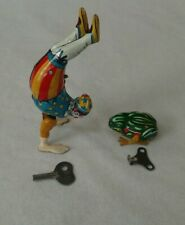 Vintage Tin Wind Up Clown Walking On Hands & Hopping Frog US ZONE GERMANY