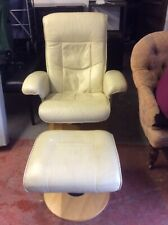 Leather Games Chair & Footstool. Swivel Recliner Chair. Reclining Arm Chair. V32