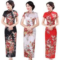 BG_ Chinese Flower Print Stand Collar Short Sleeve Women Slit Cheongsam Dress Si