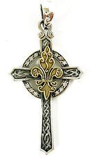 Celtic Gold Fleur De Lis Cross Sterling Silver Pendant
