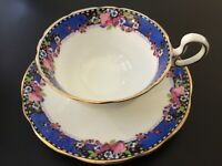 Aynsley Footed Cup Saucer Set~Blue Boarder Pink Rose Buds~Gold~Floral~England