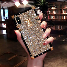 Luxury Bling Glitter Metal Lock Square Case Cover For iPhone 11 Pro MAX XR 6 7 8