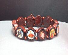 Christian Bracelet Oval Wood ROSEWOOD Finish Beads SAINTS HOLY IMAGES Wonderful!