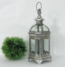 Laterne Metall Windlicht Antikstil Gartenlaterne Glaswindlicht Teelicht Silber H