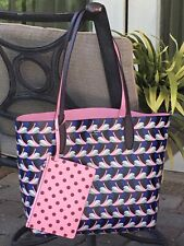 KATE SPADE ARCH LOVE BIRDS LARGE REVERSIBLE TOTE SHOULDER BAG PINK BLUE W/ POUCH