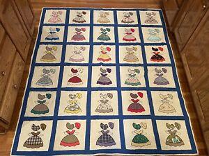 """Vintage c1930s Handmade Sun Bonnet Sue 76""""x63"""" Quilt BEAUTIFUL"""