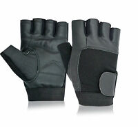 Leather Bus Driving Gloves Finger Less Cycling Gym Wheelchair Weight Training