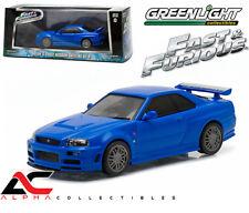 GREENLIGHT 86219 1:43 BRIAN'S 2002 NISSAN SKYLINE BLUE GT-R FAST FURIOUS 2009