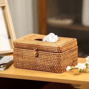 Elegant Handmade Rattan Tissue Box Napkin Storage Container Desktop Toilet Paper