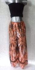 Boho Tie Dye Pants, Elasticised Waist, Wide Leg & Side Splits - Orange - Size 12