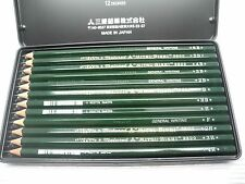 NEW Mitsubishi Drawing pencil 9800DX 12 Degrees 6B-4H with metal case(Japan)