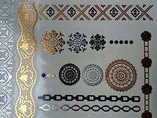 Gold Metallic Temp Tattoos Jewellery Lacey Bands Bracelets