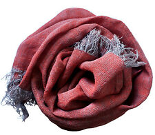Lino bufanda con flecos de 100% lavadas Leinen (44 x 180 cm) Platino/rojo